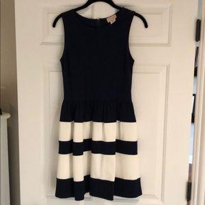Navy blue and white stripes stretchy dress.